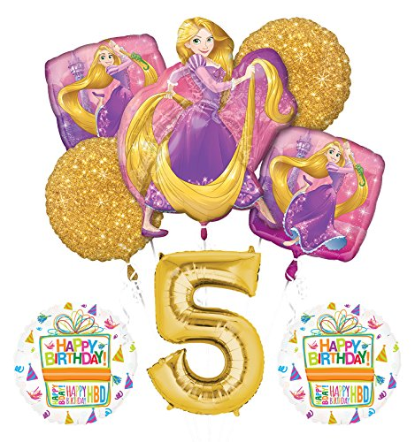 NEW! Tangled Rapunzel Disney Princess 5th BIRTHDAY PARTY Balloon decorations -