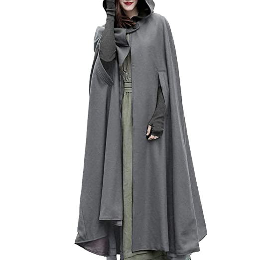 Hooded loose Blend Casual Winter Womens Cape Cloak Long Wool wO8nXN0kP