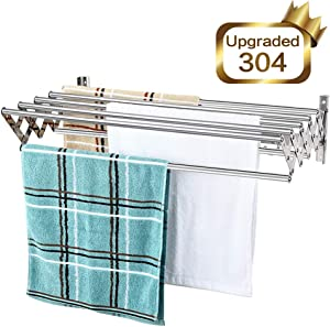 Mertonzo Folding Clothes Drying Rack Wall Mount, 304 Stainless Steel Retractable Laundry Drying Rack/ Bathroom Towel Rack with Hooks, Rustproof Space-Saving Clothing Hanger for Indoor Outdoor
