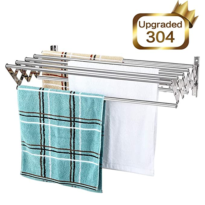 Mertonzo Folding Clothes Drying Rack Wall Mount, 304 Stainless Steel Retractable Laundry Drying Rack/ Bathroom Towel Rack with Hooks, Rustproof ...