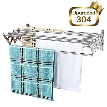 Mertonzo Folding Clothes Drying Rack Wall Mount, 304 Stainless Steel Retractable Laundry Drying Rack/ Bathroom Towel Rack with Hooks, Rustproof ...