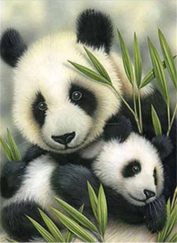 YEESAM ART New 5D Diamond Painting Kit - Panda Mother and Baby - DIY Crystals Diamond Rhinestone Painting Pasted Paint by Num