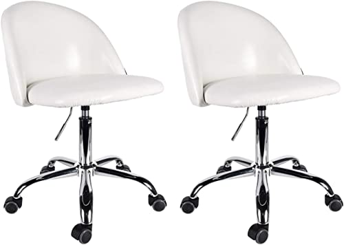 Adjustable Drafting Chair 360 Swivel Spa Rolling Stool with Comfort PU Leather Back, Set of 2 Salon Office Desk Chairs