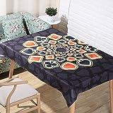 JIAAE European Classical Natural Linen Tablecloths 3D Digital Printing Cartoon Poker Table Cloth Home Decoration Fabric Cover Towel Black, 140200cm