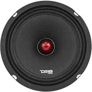 "DS18 PRO-X8.4BM Loudspeaker - 8"", Midrange, Red Aluminum Bullet, 550W Max, 275W RMS, 4 Ohms - Premium Quality Audio Door Speakers for Car or Truck Stereo Sound System (1 Speaker)"