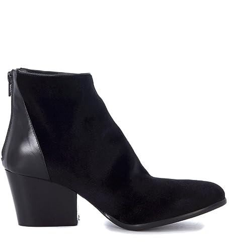 Ankle Fiori Black Women's co Leather Francesi Amazon Velvet Boots OFqXwZR