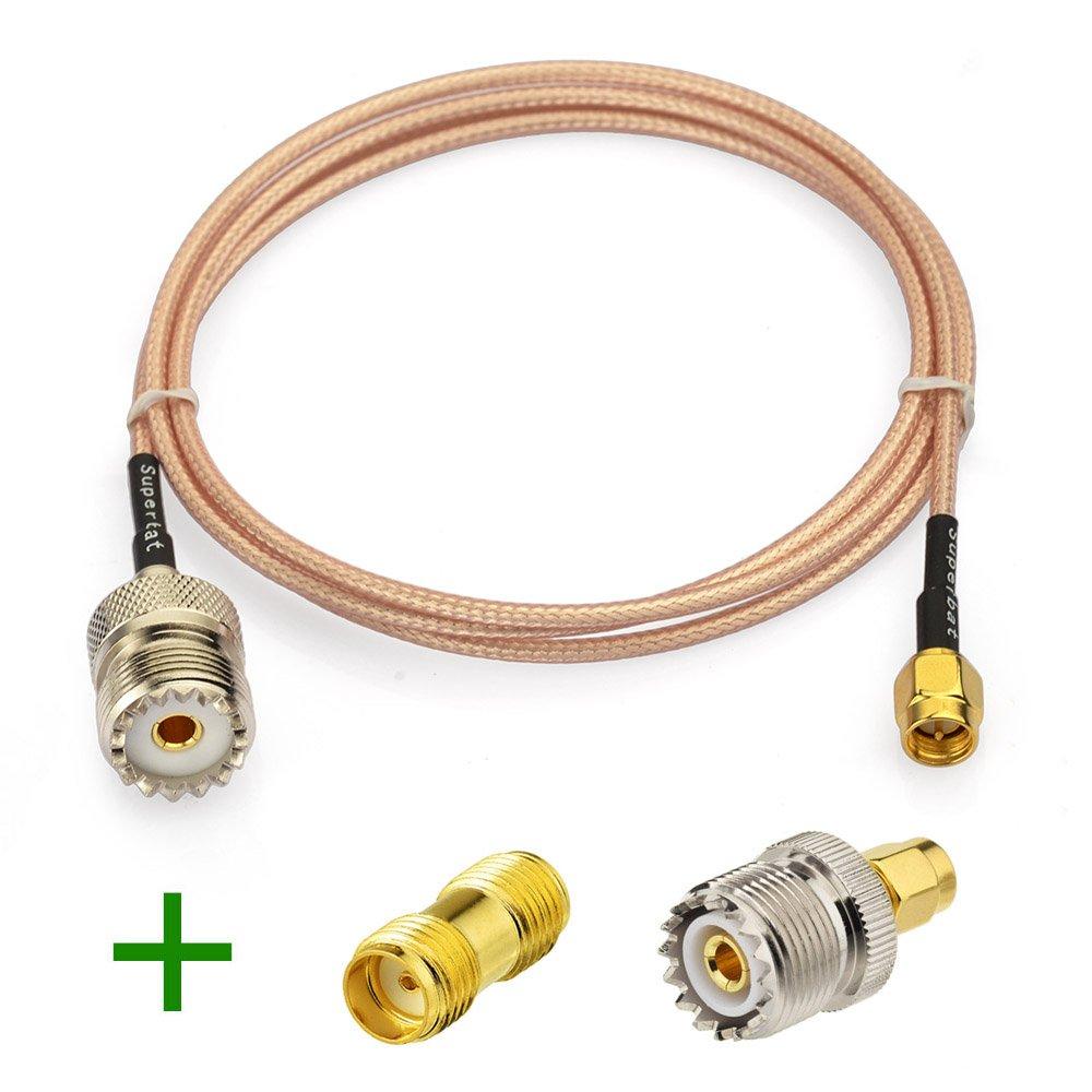 Superbat RF Coax SMA Male to UHF Female SO-239 Cable + 2pcs SMA Adapter SMA UHF Female SO239 Adapter for Baofeng CB Radio Handheld Radio Antenna Walkie Talkie by Superbat