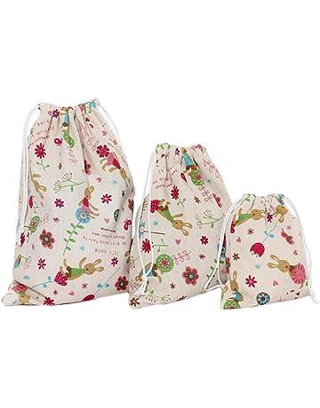 Cdet 3X Bolso de Viaje Impreso de algodón y Lino bolsitas de té Bolsas de cordón