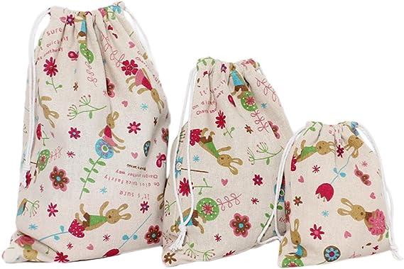 Cdet 3X Bolso de Viaje Impreso de algodón y Lino bolsitas de té Bolsas de cordón almacenaje de la Ropa Bolsas de Acabado: Amazon.es: Electrónica