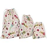 Monbedos 3pcs coulisse borse coniglio bambola modello Storage Bag in lino cotone per la casa o Arts Stuff o da viaggio (Large 25x 32cm, M 19x 24cm, piccoli 14x 16cm)