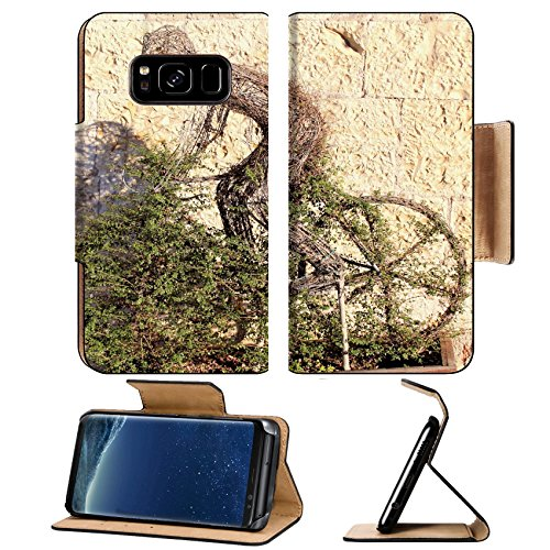 Luxlady Premium Samsung Galaxy S8 Flip Pu Leather Wallet Case IMAGE ID: 25589987 Carved figure of a cyclist in a bush with topiary (Card Topiary)