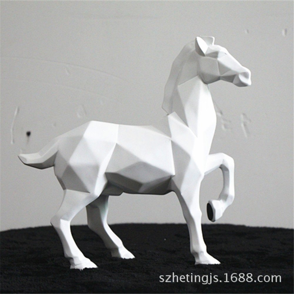Horse Sculpture Statue Crafts Home Model Home Table Decoration Geometric Resin Animal Statue Crafts (White) by Lucky House (Image #2)