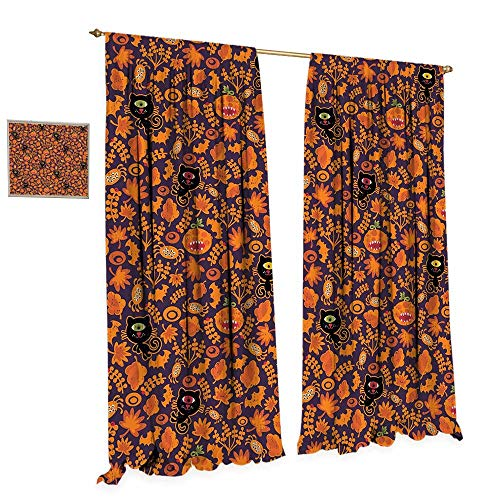 Vintage Halloween Window Curtain Drape Halloween Themed Elements on a Purple Background Scary Mosters Decorative Curtains for Living Room W120 x L96 Dark Purple -