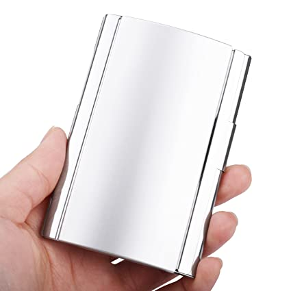 Amazon maxgear professional business card holder business card maxgear professional business card holder business card case stainless steel card holder with aluminum curved cover colourmoves