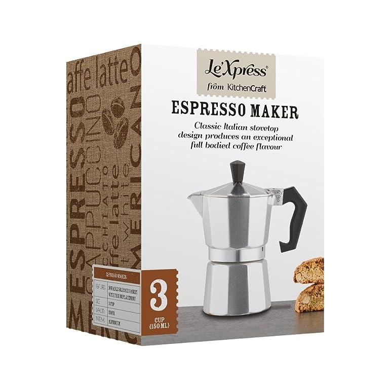 KitchenCraft Le'Xpress 3-Cup Stovetop Espresso Maker, 150 ml ...