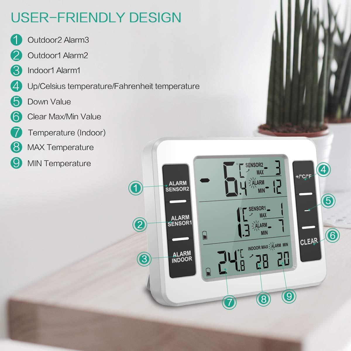 6526c2cdf92b ORIA Termómetro Digital del Refrigerador
