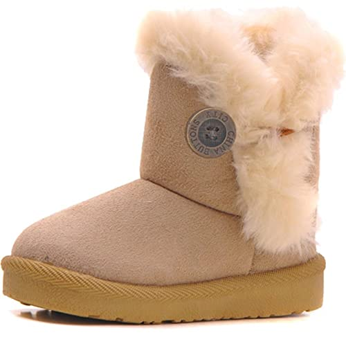 DADAWEN Baby's Girl's Toddler Fashion Cute Bowknot Fur Lining Princess Warm Snow Boots Brown US Size 9 M Toddler 2hVCDn