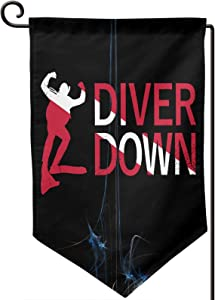 Diver Down Welcome Garden Flag Double-Sized Print Decorative Holiday Home Flag12.5 X 18 Inch