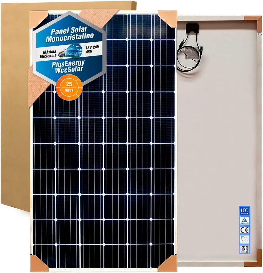 Panel Solar 370W Monocristalino 72 Células 12V/24V/48V Alta Potencia + 10 MTS Cable + Conectores MC4