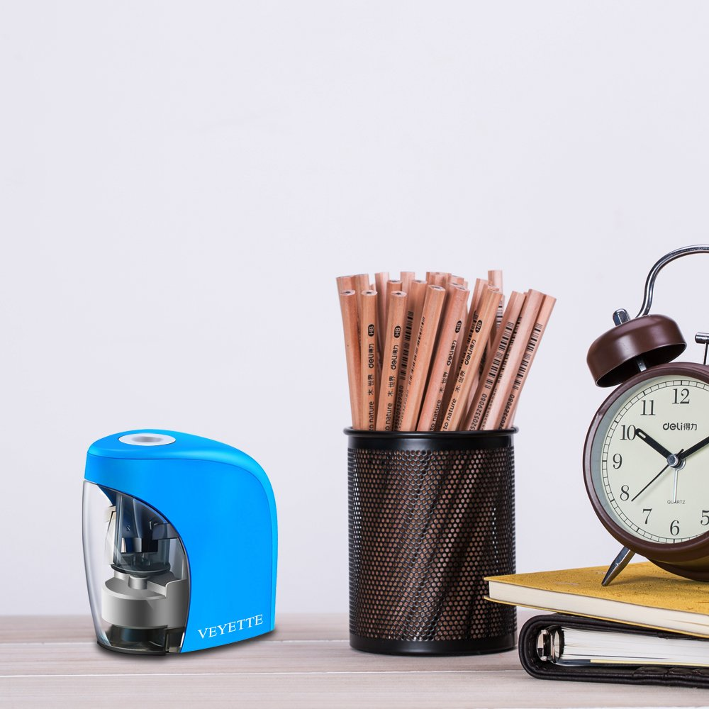 Pencil Sharpener Teachers and Artists VEYETTE Portable Colored Pencils Electric Pencil Sharpener Perfect for Kids Plug /& Battery Operated,USB Included Blue