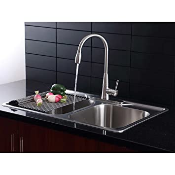 Afa Stainless 33 Kitchen Sink And Pull Down Faucet Combo Amazoncom