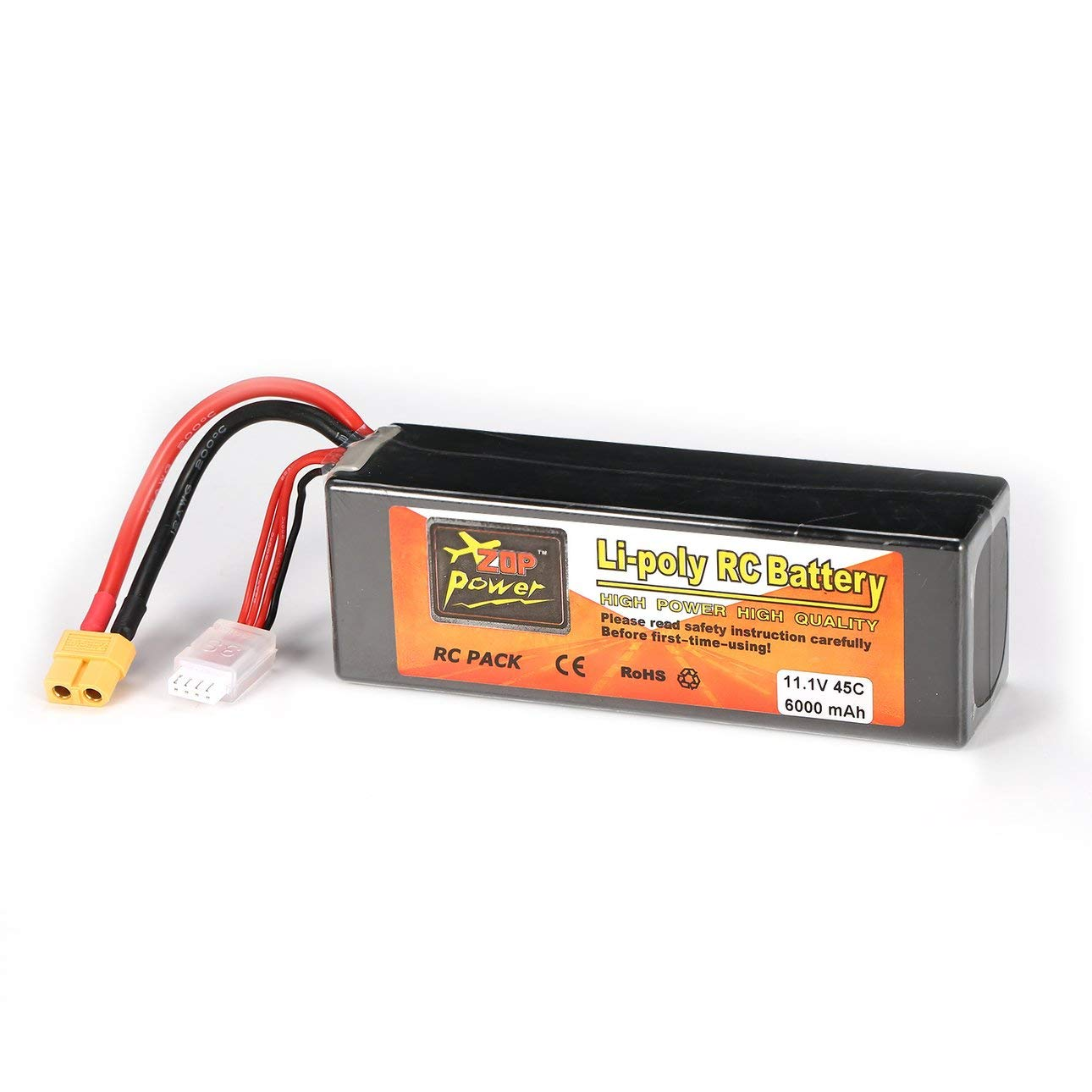 Liobaba 11.1V 6000mAh 45C 3S 1P Lipo Battery XT60 Plug Rechargeable RC Racing Drone Quadcopter Helicopter Car Boat Model Dark-Gray
