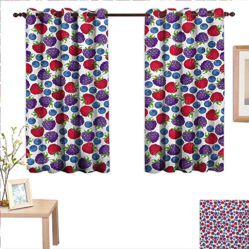 Colorful Drapes for Living Room Wild Fruits Collections Raspberry Blueberry and BlackBerry Fresh Healthy Options 55