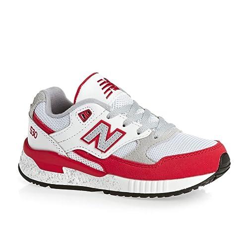 New Balance 530 Scarpe Bambino Ragazzo KL530RGP Sneaker Lacci Bianco Rosso  - Taglia 28 d6f16618d6b