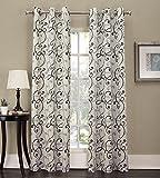 No. 918 Tilda Scroll Print Grommet Curtain Panel, 48″ x 84″, White