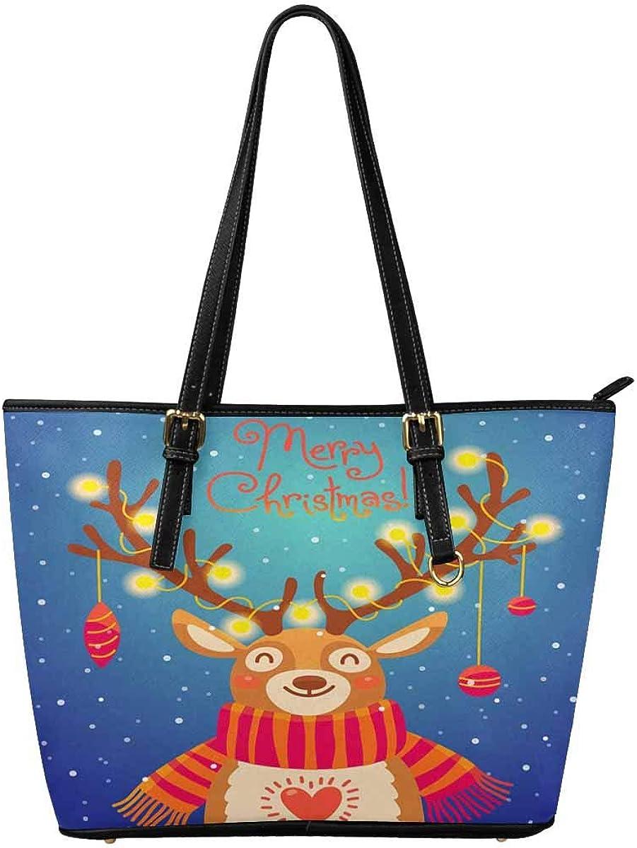 InterestPrint Top Handle Satchel HandBags Shoulder Bags Tote Bags Purse Xmas Card With Santa Reindeer