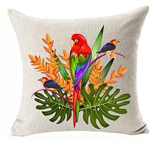 Watercolor Oil Painting Hand-painted Tropical Colorful Flowers Leaves Birds Toucan Parrot Foliage Plant Holiday Gift Cotton Linen Decorative Throw Pillow Case Cushion Cover Square 18