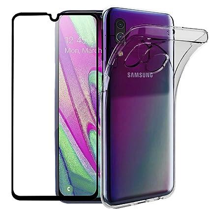 Wanxideng - Funda para Samsung Galaxy A40 + Protectores de Pantalla in Cristal Templado, Carcasa Suave Delgado Claro Funda de Silicona TPU - ...
