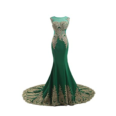 Kivary Gold Lace Sexy Mermaid Green Tulle Long Prom Formal Evening Dresses US 2