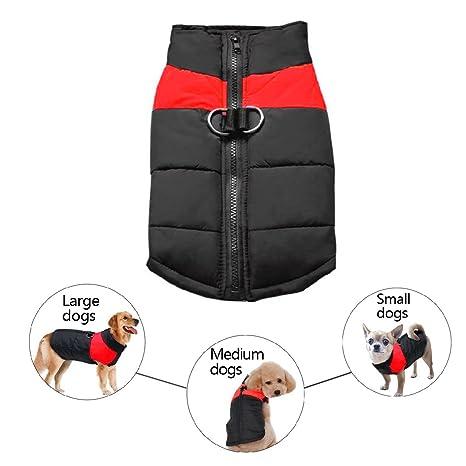 Abrigo impermeable para perro, cálido acolchado, chaleco polar abrigos de invierno con agujero para