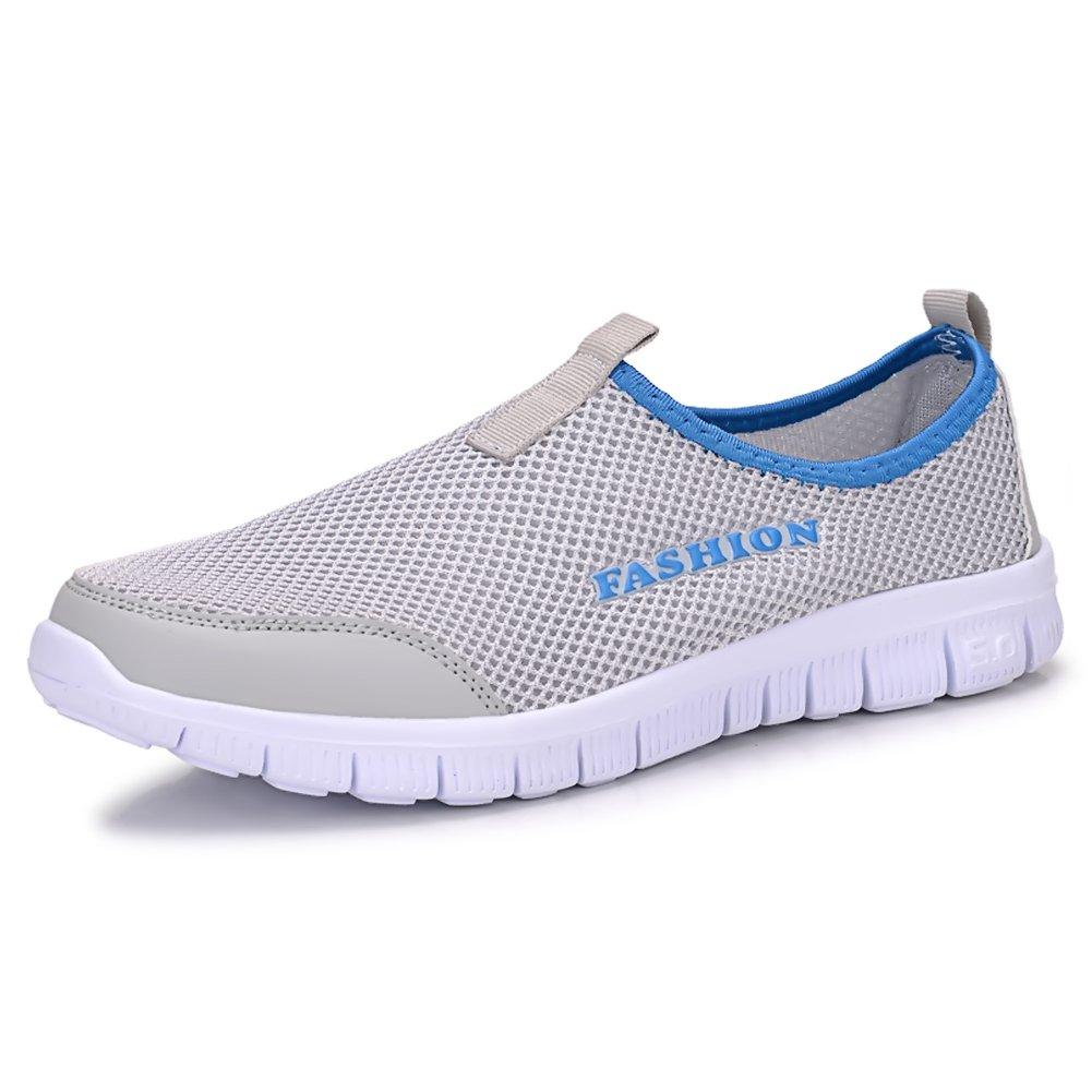 Sibba breathable Mesh Sneaker/Slip on, als Laufschuhe und Strandschuhe fuuml;r Damen und Herren  EU45/CN46|Hellgrau