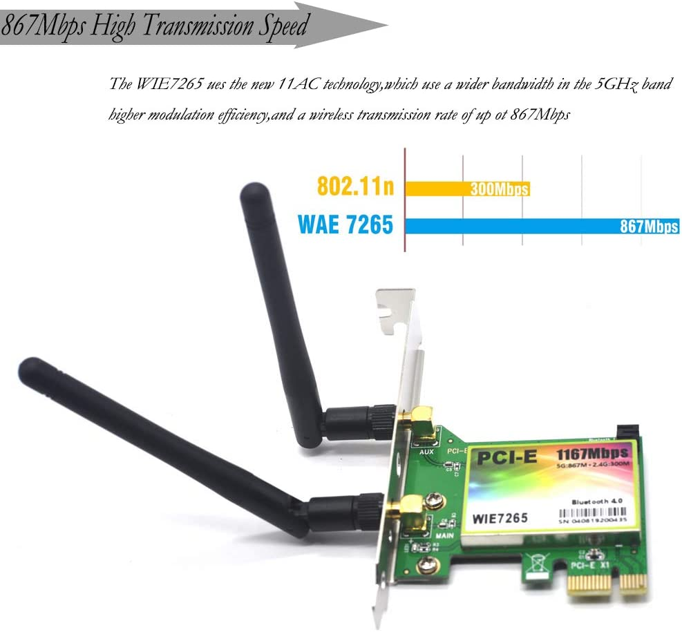 Supports Windows XP Win 7,Win 8,Win 8.1,Win 10 Padarsey 1167Mbps PCI-e Wireless Network Card Dual Band 2.4GHz//5GHz Bluetooth 4.0 WLAN WiFi Adapter for PC Desktop