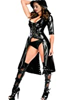 Fashion Queen Women's Faux Leather Cape Cloak Costume (Black) One Size
