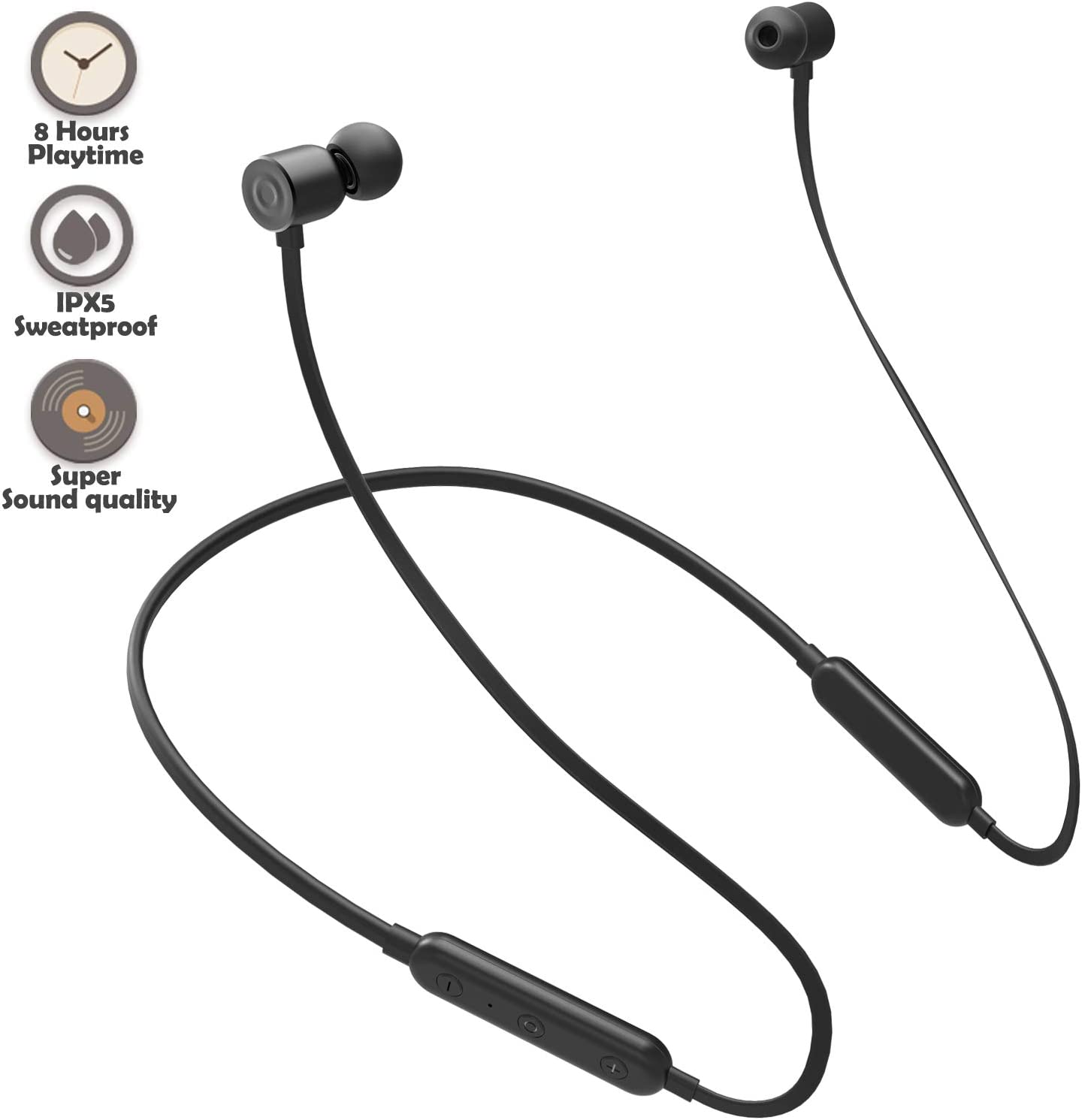 Bluetooth Headphones Wireless Earbuds 4.1 Magnetic Bluetooth Earphones Lightweight Headsets with Mic for in-Ear Sports Headphones for Running 8 Hours Play Time, Noise Cancelling, Sweatproof -Black