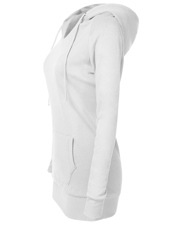 V-neck Ribbing Wrist Long Sleeve Drawstring Hoodies White Large by Luna Flower (Image #3)