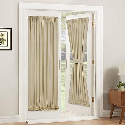 PONY DANCE Door Curtain Panel   Room Darkening Rod Pocket Sliding Glass  Door Drapes Privacy Light