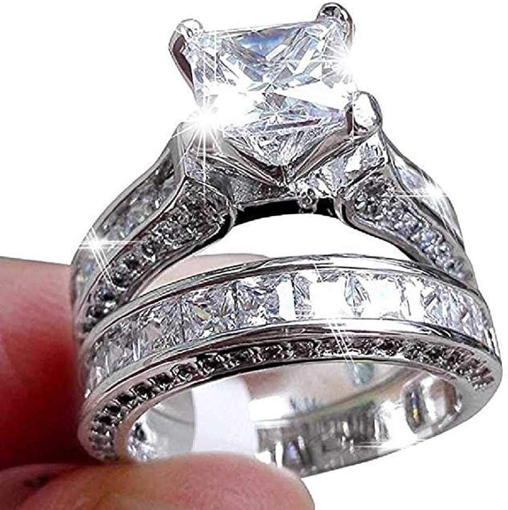 WSSVAN Anillo, Mujer 2 en 1 anillo de diamante retro de la moda incrustado anillo cuadrado de simulación de diamantes anillo de pareja anillo boda compromiso joyería regalo de joyería
