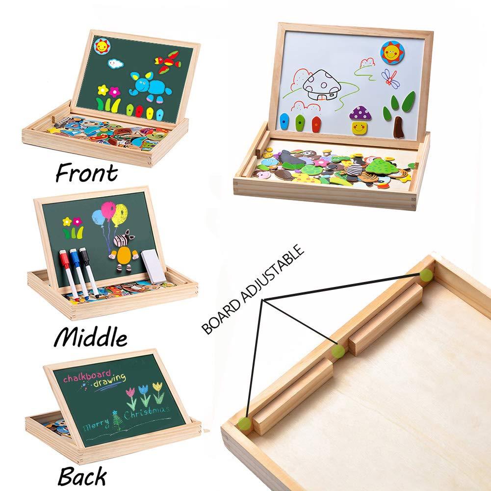 MOVEONSTEP Magnetische Holzpuzzles, Puzzle Magnetisch Pädagogisches Holzspielzeug 100 STÜCKE Doppelseitiges Magnetisches Reißbrett mit 3 Farbe Mark Stifte für Kinder Alter 3 +(Panda)