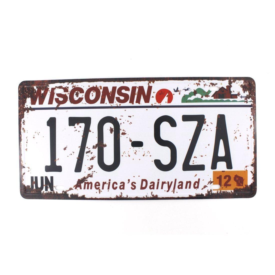Eureya WISCONSIN 170-SZA - Placa de matrí cula para el coche, diseñ o vintage con texto en inglé s Home/Cafe Bar/Pub/Restaurante/Exhibition Wall Decor 6' x 12'