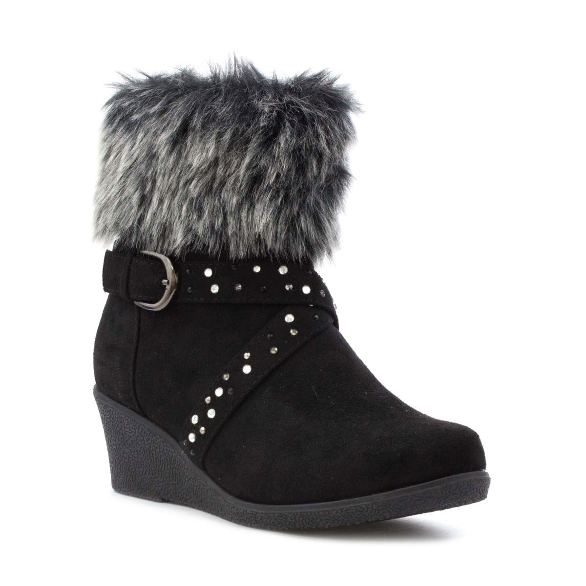 2019 year look- Lilley Womens Black Buckle Detail Ankle Boot-18640