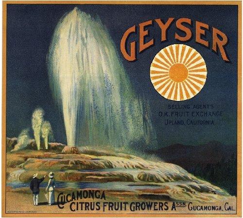 - A SLICE IN TIME Cucamonga, San Bernardino County, Geyser Orange Citrus Fruit Crate Box Label Art Print