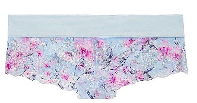 Medium Victorias Secret Pink Starbright Floral w//Foil Shine Lace Cheekster Panty