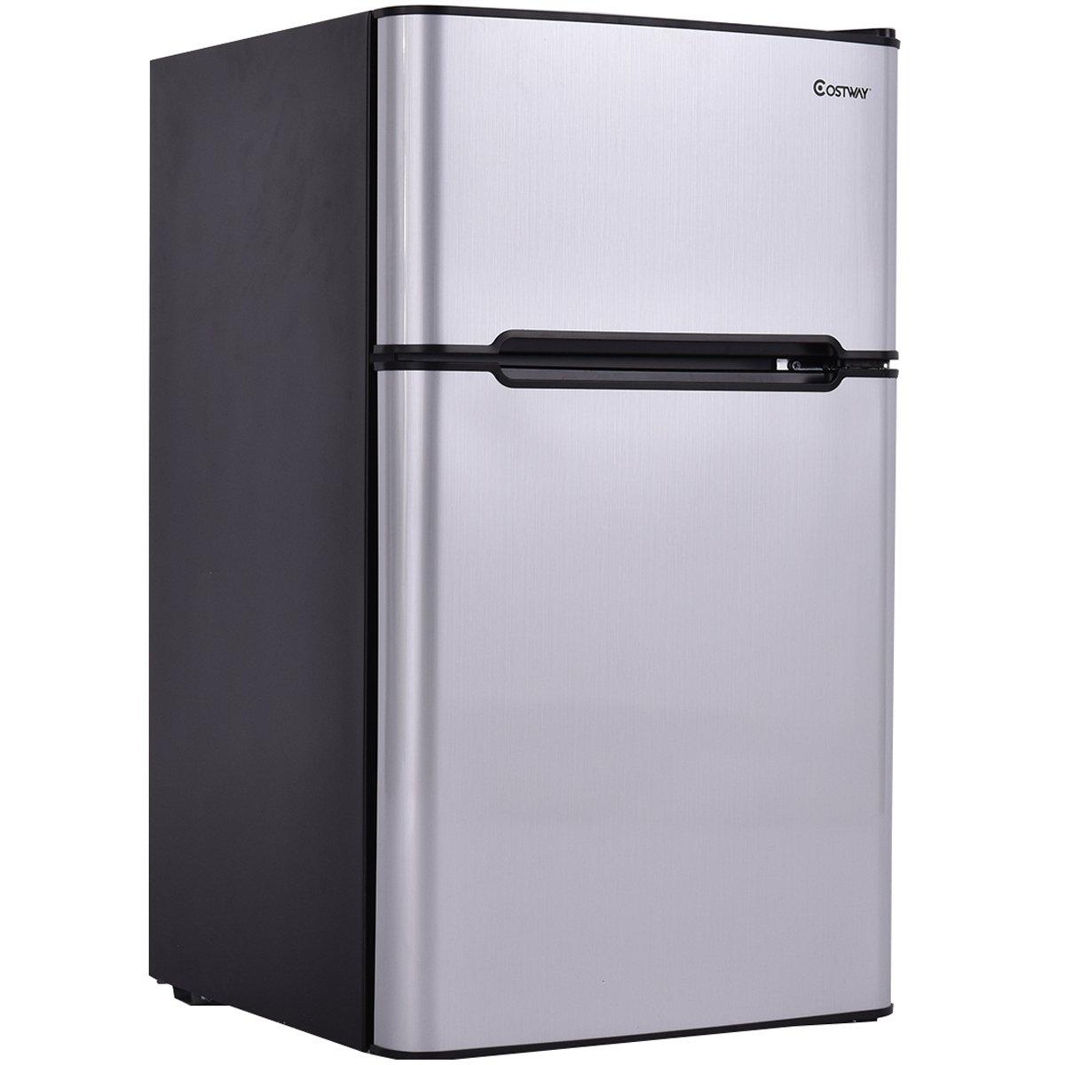 Costway 2-Door Compact Refrigerator 3.2 cu ft. Unit Small Freezer Cooler Fridge (Gray)