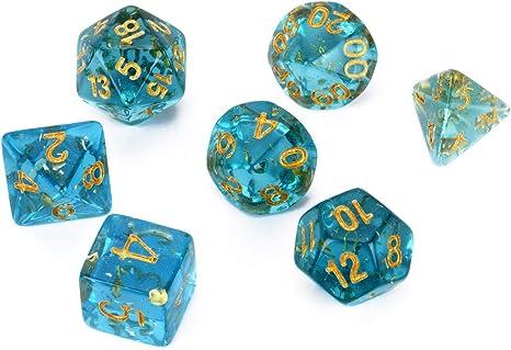 FLASHOWL Juego de Dados de Color Azul Claro Transparente Juego de ...