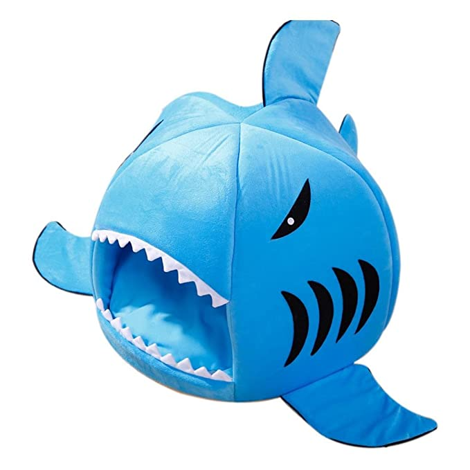 Panier Chien/chat Angelof Maison Chien Chat Lit Coussin Panier Canapé Chaise Chiot Lavable Lit Chien Panier Maison Chien Requin 50CMx50CM (M, Bleu)