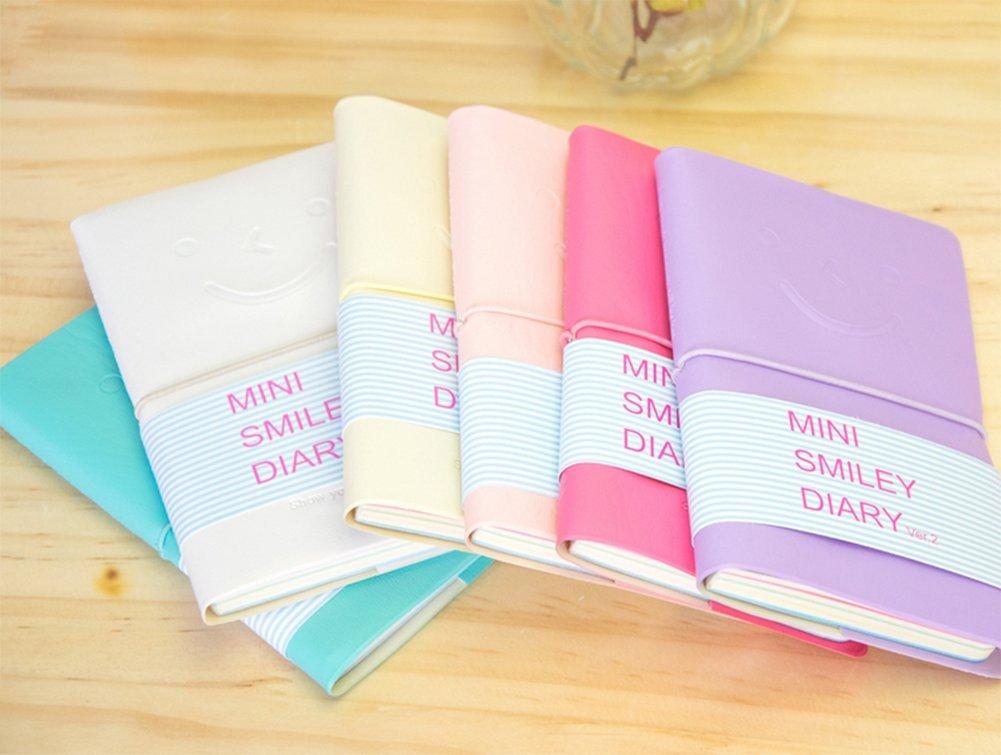 1//× cosanter taccuino bel sorriso Pelle Note Book Scratch Pad Smiley Viso Pelle Diario Blocco note settimane formato Calendario